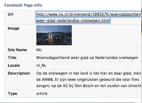 Voorbeeld nu.nl op Facebook met metadata