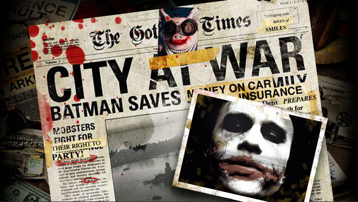 Collage of newspaper and Joker photo
