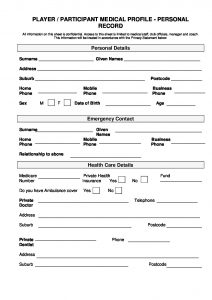 Player Medical History Form - Football NSW