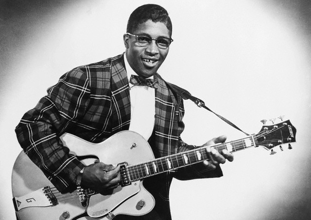 Bo Diddley on a Gretsch guitar --late 1950s.