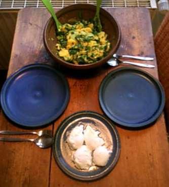 20.3.16 - Kartoffelsalat,pchiertes Ei,Quitten Dessert,vegetarisch (11)
