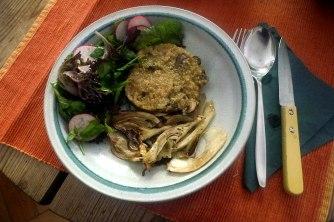 24.6.16 - Quinotto,Champignon,gebratener Fenchel,Pflücksalat,Dessert (18)