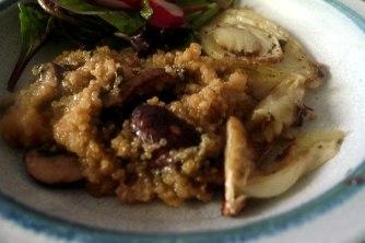24.6.16 - Quinotto,Champignon,gebratener Fenchel,Pflücksalat,Dessert (19)