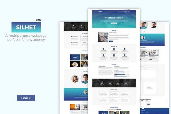 CreativeMarket - Silhet v1.0 - Multipurpose One Page PSD