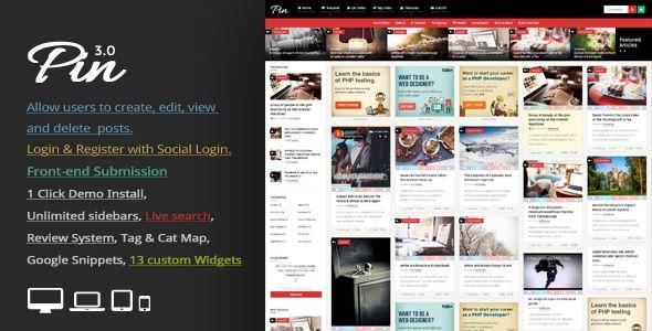 Pin v3.8 - Pinterest Style / Personal Masonry Blog