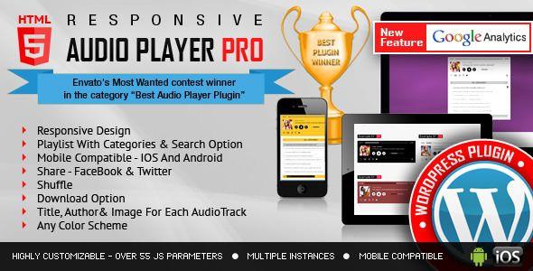 Responsive HTML5 Audio Player PRO v2.9.9 - WordPress Plugin