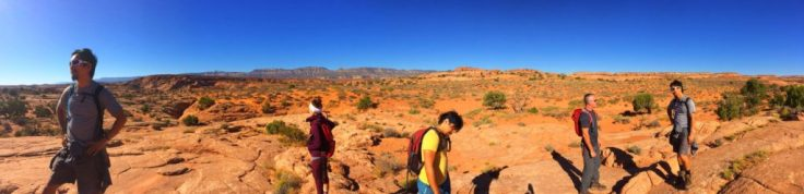 Climbing up out of the slot canyons