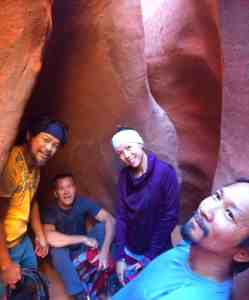 the gang in a opening of the slot canyon