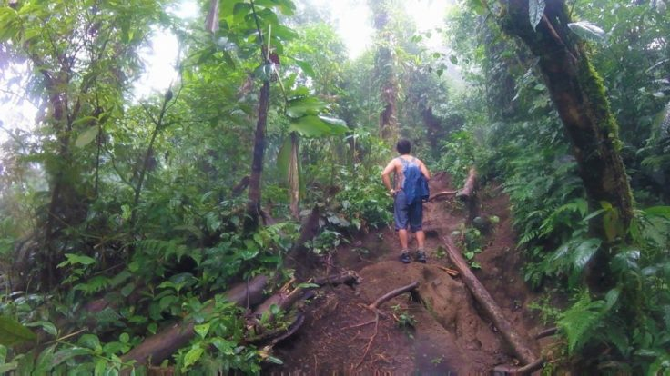 hiking up a volcano