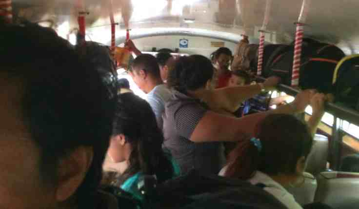 Crowded bus in Nicaragua