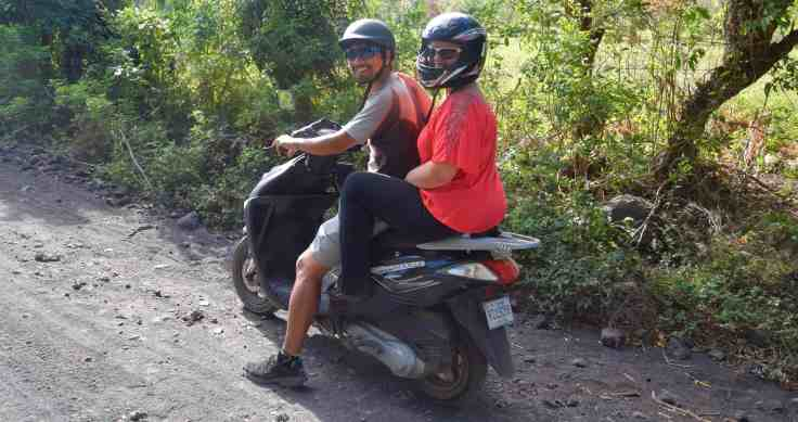 All smiles on the bike, before the accident on Ometepe
