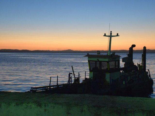 Ometepe lake at sunset