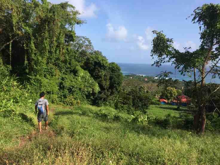 a nomad on big corn island walking down a path