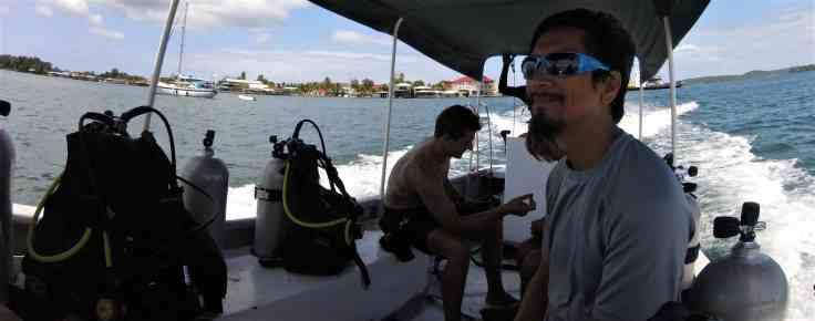 On the dive boat in Bocas Del Toro
