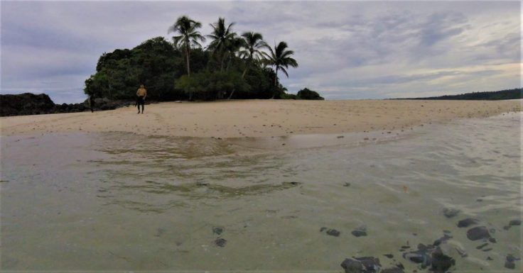 resting on shore in Coiba