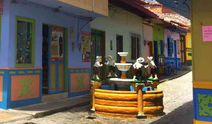 old well on a street in Guatape Colombia