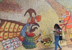 Mural depicting Peru History Inca gods