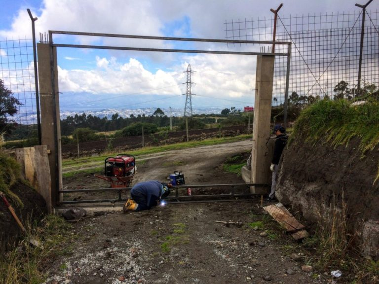 welding the security gate at the dunamis foundation