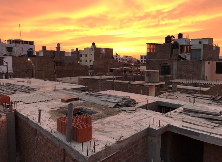 Sunset from balcony in Peru