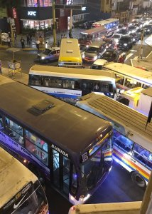 Buses in a traffic jam in Lima Peru