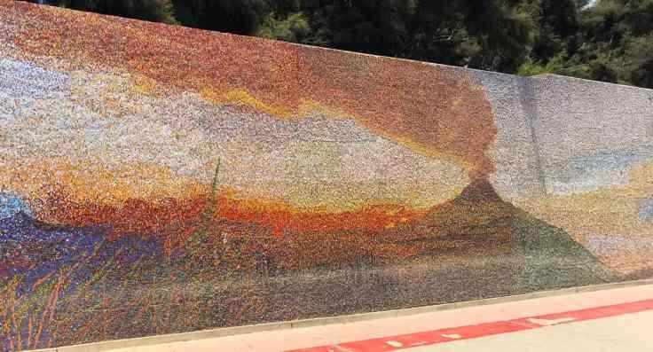 Mural depicting Peru history Volcanoe