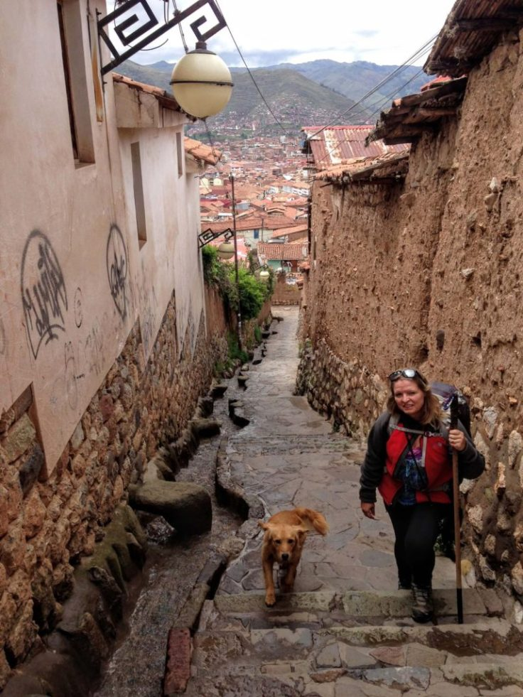 Sidewalk in modern day Cusco