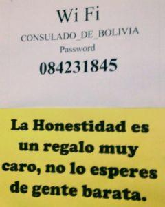 Bolivia Visa consulate sign