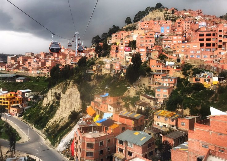 View from a cable car in La Paz a city in the sky