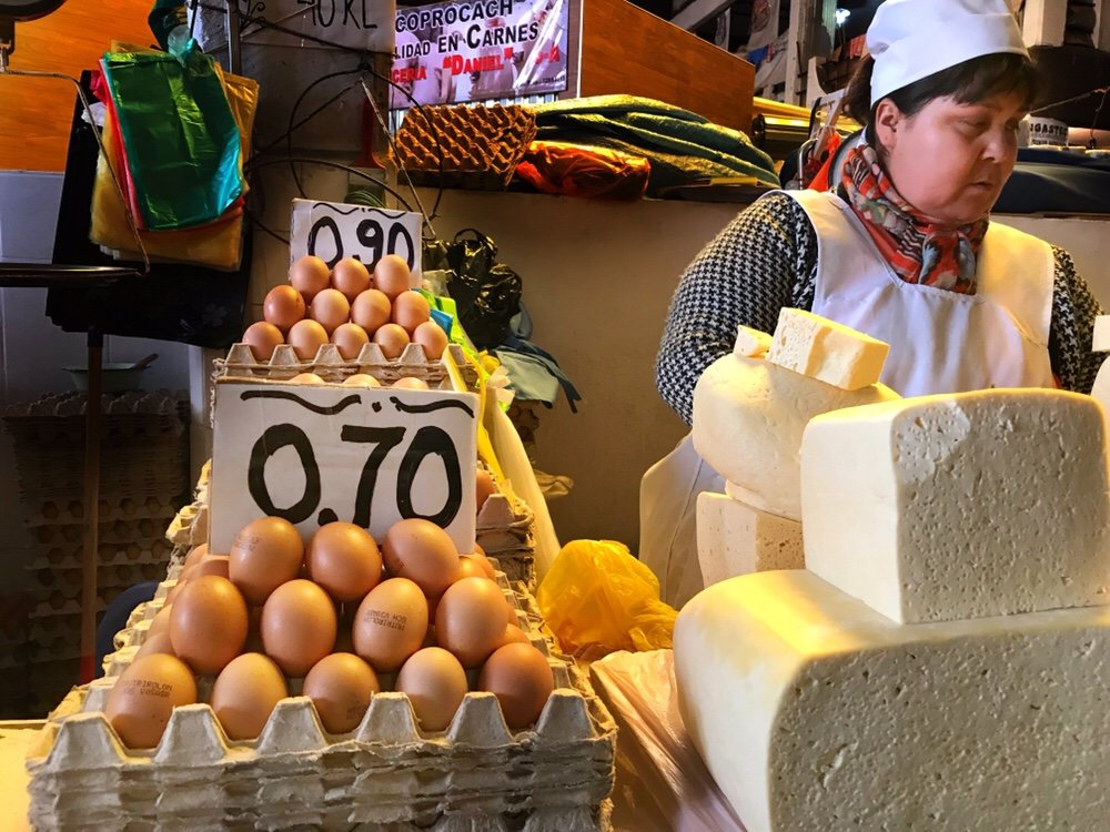 Eggs and cheese in the market