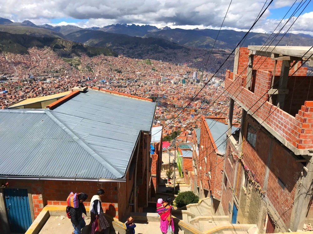 View of La Paz from the market, shopping south america