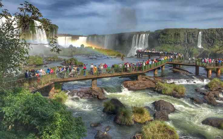 Iguazu Falls walkway on the Brazil side, Iguazu falls Argentina