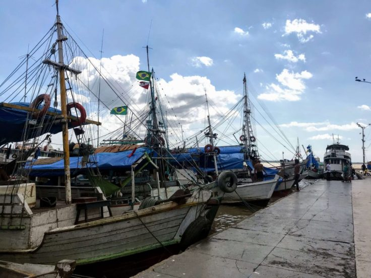 Fishing boats on the Amazon in the Belem Port, safety travel tips