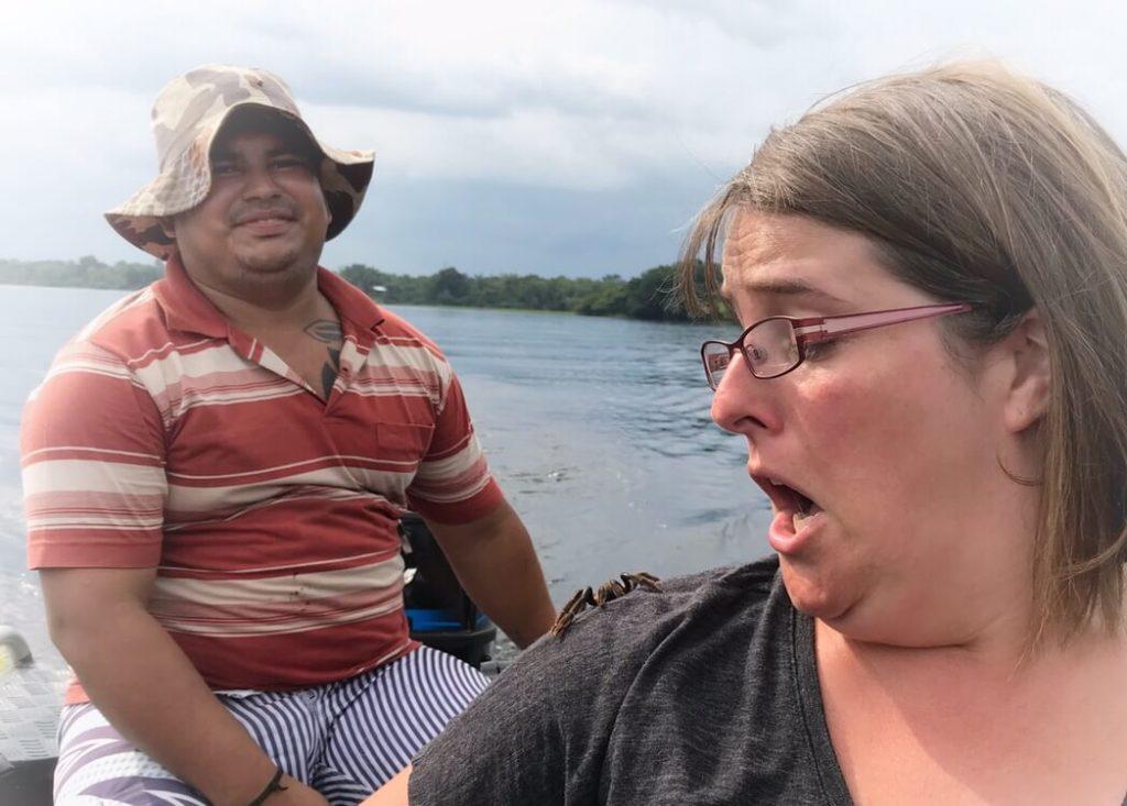 Tarantula on the shoulder of Alia while in the Amazon of Brazil