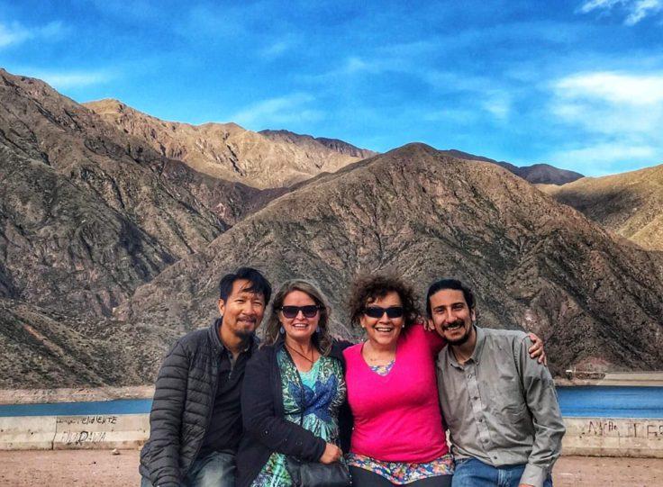 Trin, Bonnie, Nora, and Ivan at a lake near Mendoza