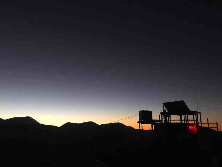 The sun setting from the Pangue Observatory in Elqui Valley