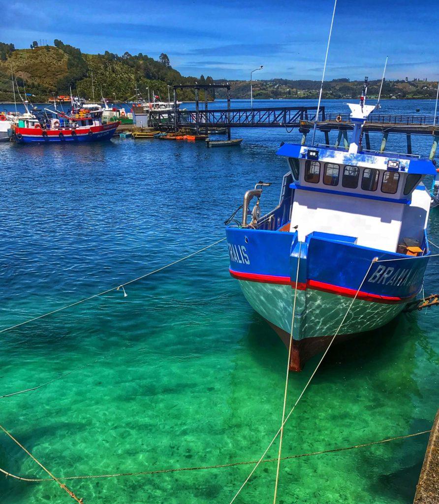 Boat in Dalcahue Chiloe Chile