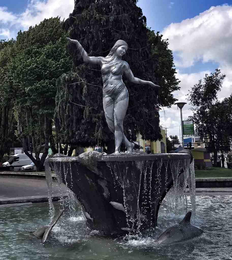 Fountain in Castro honoring La Pincoya in Chiloe Chile
