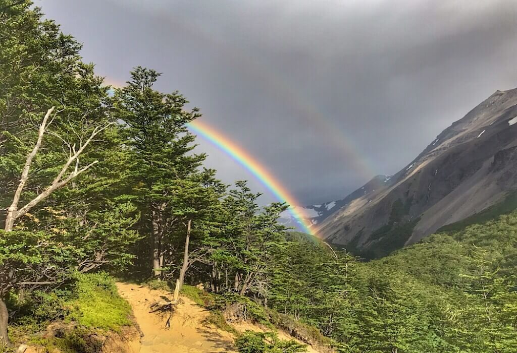 Rainbow along the Torres del Paine W trek