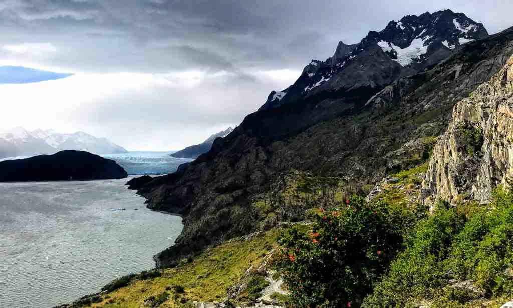 View of Glacier Grey in Torres del Paine from the trail on the way in