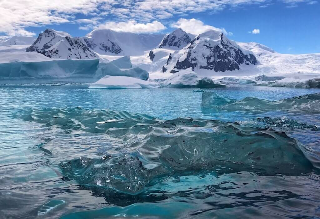 Clear glacial ice in the bay of Antarctica