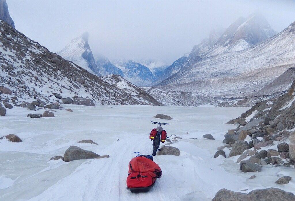 David's fat bike in the Arctic. Photo credit David Reid