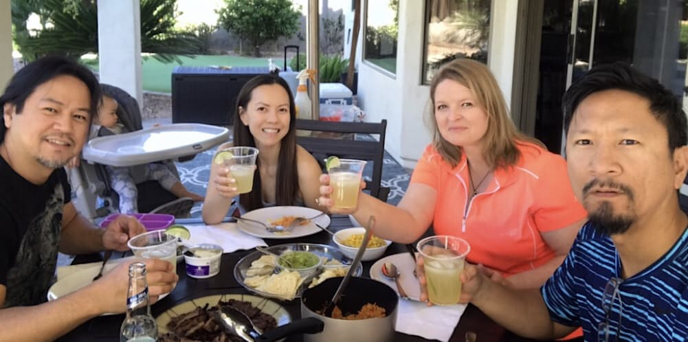 Dinner with Uly and Xandra toasting to a good evening