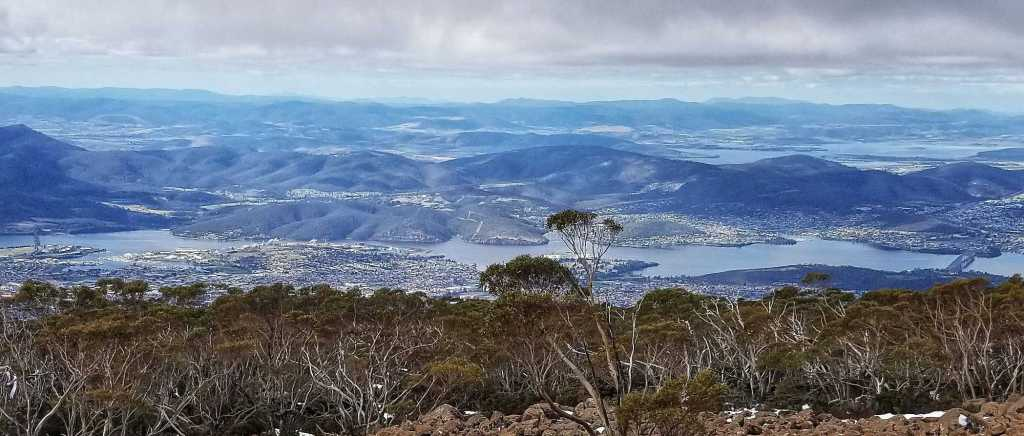 A view of Hobart from the top of Mt. Wellington