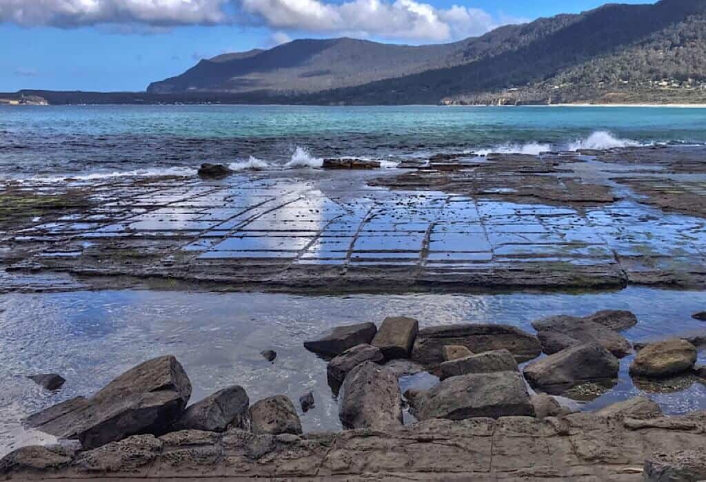 Tessellated pavement by the shore