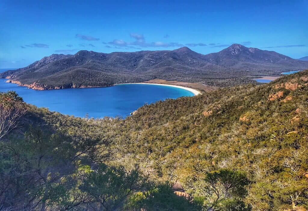 Wineglass Bay Viewpoint, the swamps are behind the bay to the right.