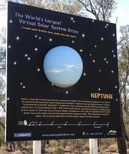 The billboard for Neptune along the Solar System Drive in New South Wales, Australia