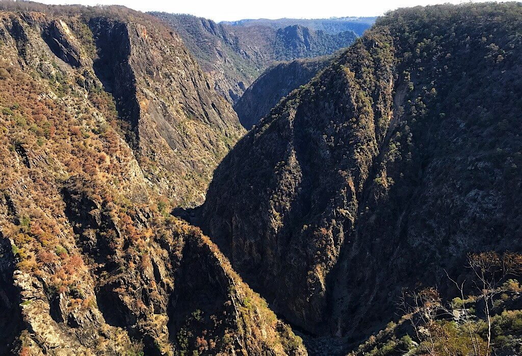 The canyon that the Wollomombi flows through if there has been rain. Located in New South Wales, Australia
