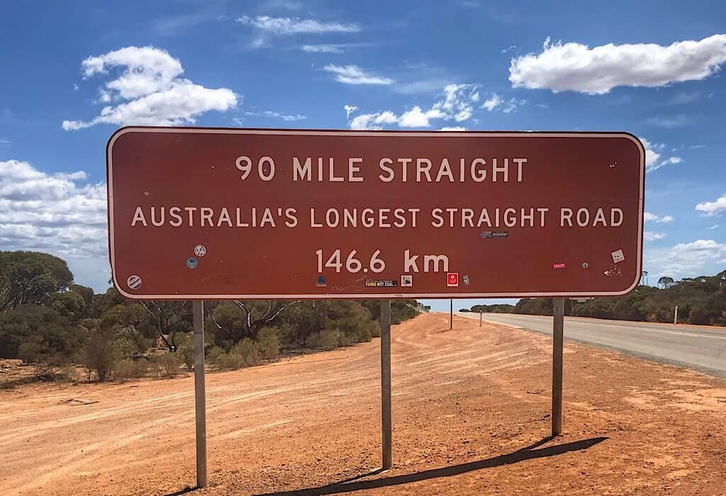 Road sign for Australia's longest straight road