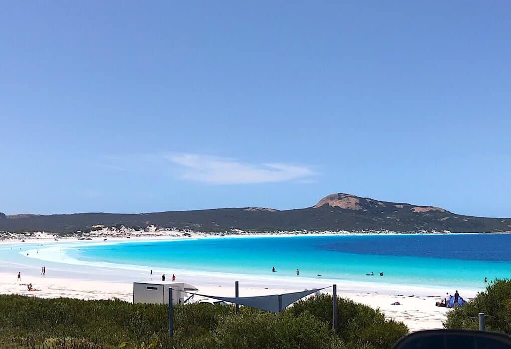 View of Lucky Bay from the parking lot. La Grand National Park Esperance, Western Australia