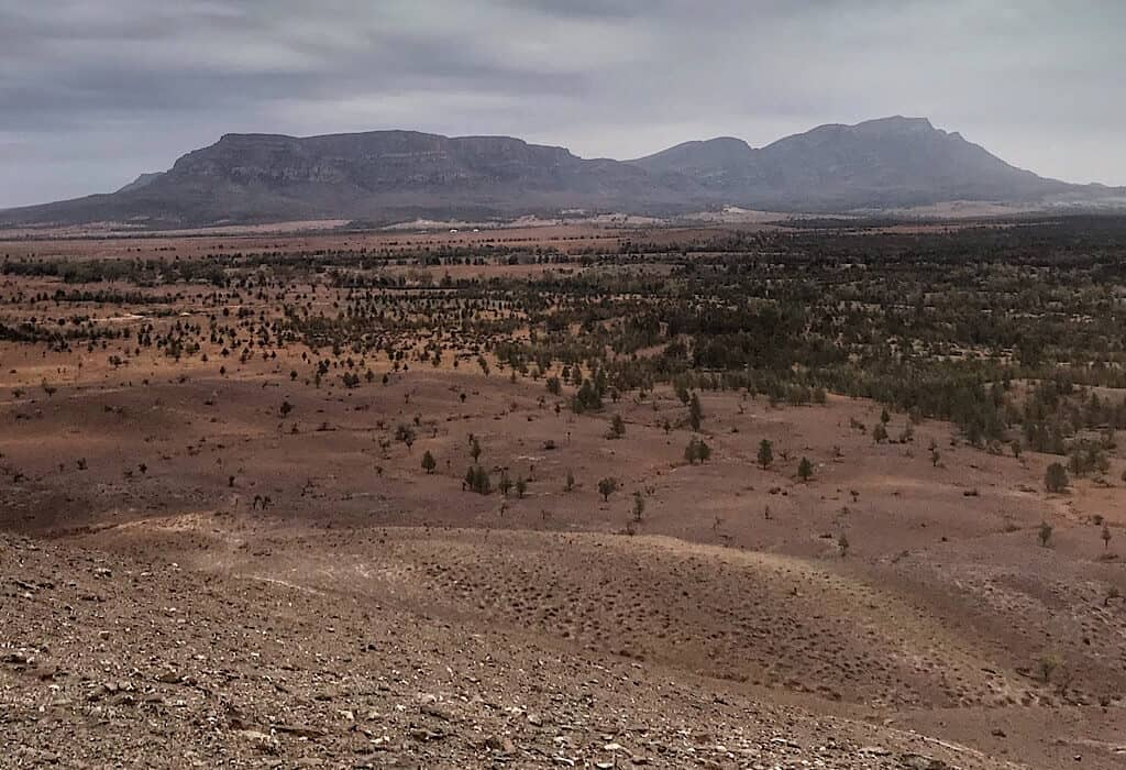 View of Wilpena Pound from outside the pound in the Flinders Range, South Australia